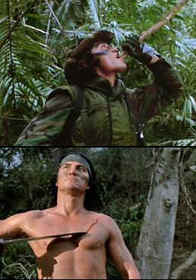 (Top) Billy drinking juices from a phallic water vine; (Bottom) Billy, subverting himself in the wake of the Alpha Predator, as he willfully creates a vaginal slit and menstruates