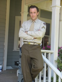 Alex O'Loughlin in costume for a flashback sequence.