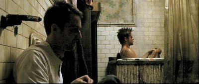 Narrator (Edward Norton) and Tyler Durden (Brad Pitt) discussing their parents in David Fincher's FIGHT CLUB