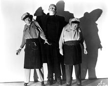 Glenn Strange menaces Abbott and Costello in this publicity shot, courtesy doctormacro.com