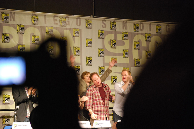 The cast and crew of Dr. Horrible's Sing-Along Blog receive a standing ovation