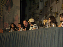 Full Grindhouse panel at Comic-Con International 2006. From L to R: Sydney Poitier, Rosario Dawson, Quentin Tarantino, Robert Rodriguez, Marley Shelton, Rose McGowan, Mary Elizabeth Winstead, Zoe Bell (not pictured)