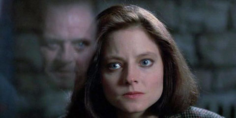 Jodie Foster stares into Anthony Hopkins' abyss