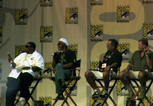 Snakes on a Plane panel. From left to right: Kenan Thompson, Samuel L. Jackson, David R. Ellis and Jules Sylvester